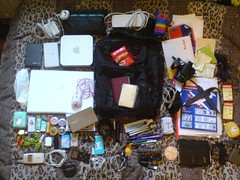 What's in my bag (uninorth13) Tags: bag mouse lite mac ipod k750i candy hellokitty ds mini moo macmini panasonic cables usb backpack headphones harddrive lush passport agenda whatsinmybag burtsbees chargers paddys adapters atr72500 macbook fz18
