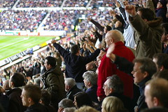 Standing and singing (JonHall) Tags: football fulham derby premiership fulhamfc pridepark derbycountyfc derbycountyvsfulham20080329