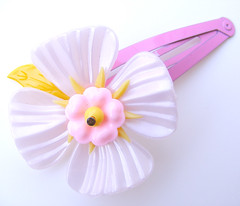 Pink and Yellow Vintage Flowers Barrette