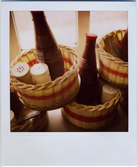 salt & vinegar (:lynn:) Tags: england film polaroid pub norfolk condiments eastanglia kingsarms blakeney brownsauce publunch polaroid680