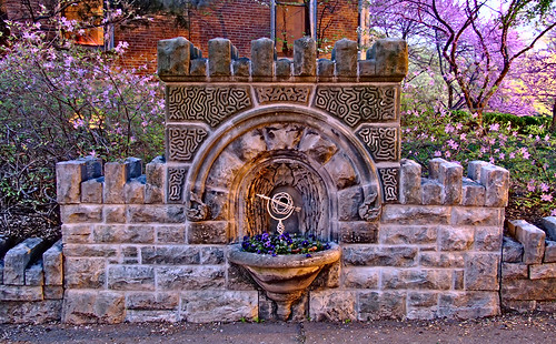 Lafayette Square Neigborhood, in Saint Louis, Missouri, USA - old fountain