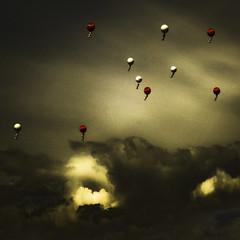 Heliumzoons (Lumase) Tags: above sky topf25 clouds balloons square 10 soe dreamcatcher levity mywinners lumase diamondclassphotographer sonyw35 ofcreativa multimegashot alarecherchedutempperdu heliumzoons