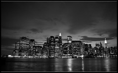 New York city twilight (M.Bob) Tags: nyc bridge wallpaper bw ny newyork skyline brooklyn cityscape manhattan abigfave aplusphoto diamondclassphotographer bloggedbyabigfave