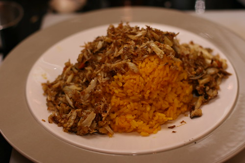 Curried Crab over Yellow Rice