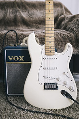 My Fender 40th Anniversary Stratocaster & my Vox amp (sémaphore) Tags: fender 40th anniversary stratocaster usa american vox amps ampli bleu blanc white guitare guitar fuji x x100s 35mm vsco