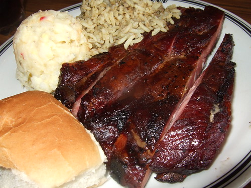 Ribs, Potato Salad, Dirty Rice