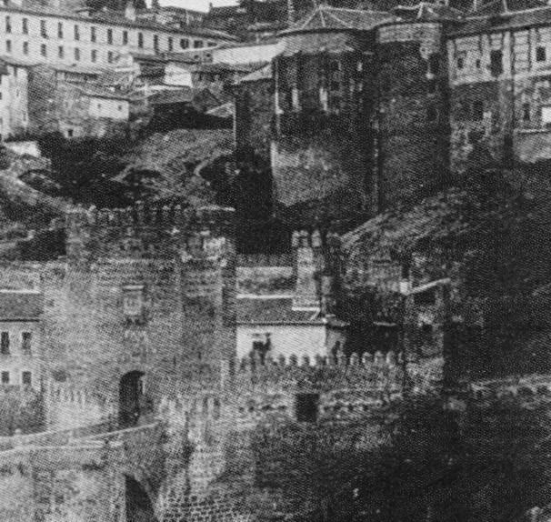 Plaza de Armas del Puente de Alcántara. Demolida en 1864. Detalle de una fotografía de E. K. Tenison de 1852