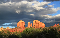 Another Gorgeous Evening (sedonakin) Tags: blue light sunset arizona orange sunlight southwest green nature clouds forest canon landscape woods cloudy hiking gray sedona vista glowing cathedralrock oakcreekcanyon absolutelystunningscapes julielake