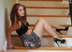day clxv- can i take yo pitcha? (365daysofsarav) Tags: selfportrait black girl stairs model dress blonde stare heels 365 stiletto 365days