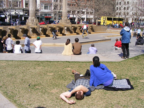 Lying In Copley Square, Watching Skaters