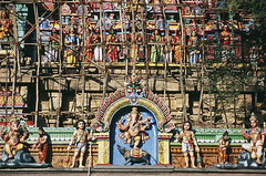 Details of the Ganesh shrine tower (thaths) Tags: 2005 india colors temple ganesh hindu hinduism tamilnadu gopuram chidambaram natarajatemple
