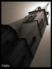 church tower - redone (Violen's photography) Tags: door old windows shadow sculpture black building tower art church window beautiful statue stone wall sepia architecture dark dead death gate worship shadows silent sad cathedral god antique prayer religion pray gothic culture poland polska chapel calm spooky silence enter neogothic sephia sorrow entrace bielskobiala betterthangood