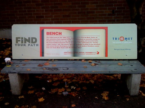 Bus bench in Portland