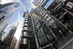 Rogers vs Foster (cybertect) Tags: uk england london architecture unitedkingdom normanfoster limestreet lloydsbuilding richardrogers willisbuilding fosterpartners canoneos5d ec3 canonef15mmf28fisheye londonec3