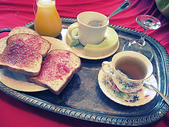 Breakfast in Bed (hannah karina) Tags: china morning food fruit breakfast bread tea toast eat meal plates orangejuice yogurt teacup melon jam platter spoons breakfastinbed