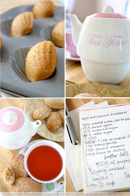 Apple and Cinnamon Madeleines with Raspbery Tea