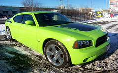 "A new Dodge Charger Daytona R/T in ""Sublime Green""... (Steve Brandon) Tags: auto winter autostitch snow ontario canada green car collage composite geotagged parkinglot automobile widescreen hiver ottawa voiture retro suburb neige hemi nepean musclecar stripmall dodgecharger daimlerchrysler shoppersdrugmart stationnement  foodbasics  roadtrack  merivaleroad  merivalerd ruemerivale cheminmerivale   neoclassiccar dodgechargerdaytonart"