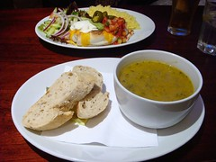 Broccoli, spinach and coriander soup and chilli beef enchilada at Blue Moon Cafe, Edinburgh