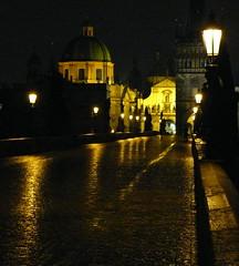 Charles Bridge in the rain, Prague