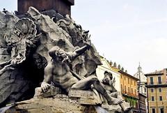 Detail of the Fontana dei Quattro Fiumi  - Piazza Navona (10) (pjink11) Tags: sculpture rome film fountain 35mm nikon europe 1998 piazzanavona bernini fe2 1651