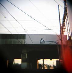 neighborhood (since73) Tags: sky 120 6x6 film japan analog tokyo lomo wire fuji dusk toycamera lofi railway daily diana flare medium leak vignette koenji realaace100