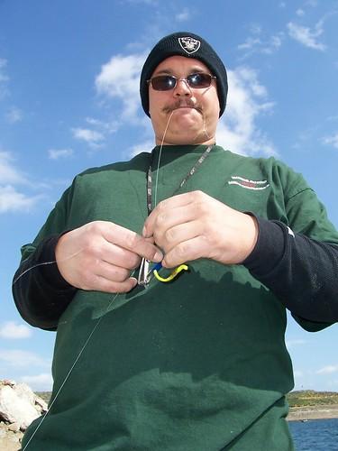 Jessie shows his fishing skills at Diamond Lake near Hemet, California