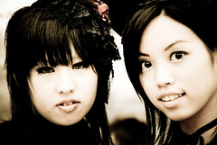 Faces of Japan I (manganite) Tags: girls portrait people cute monochrome beautiful beauty face fashion japan sepia digital geotagged asian japanese tokyo costume clothing cool nikon asia pretty cosplay tl gothic young makeup teens posing style streetscene harajuku fancy teenager  nippon  d200 nikkor dslr toned nihon kanto stylish japanesegirl  18200mmf3556 utatafeature manganite nikonstunninggallery geo:lon=139702382 date:year=2006 geo:lat=35669796 date:month=september date:day=17 format:ratio=32