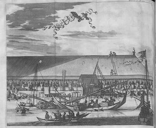 Fish Market of Batavia IN 'Voyages and Travels into Brasil and the East-Indies'