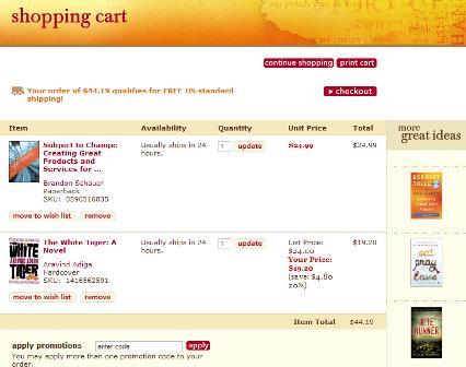 Borders shopping cart