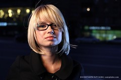 Anna (Konstantin Sutyagin) Tags: portrait woman girl beautiful face night glasses pretty head blond russian strobist