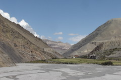 Approaching Kagbeni, Mustang through the Kali Gandaki riverbed (Kāgbeni, , Nepal) Photo