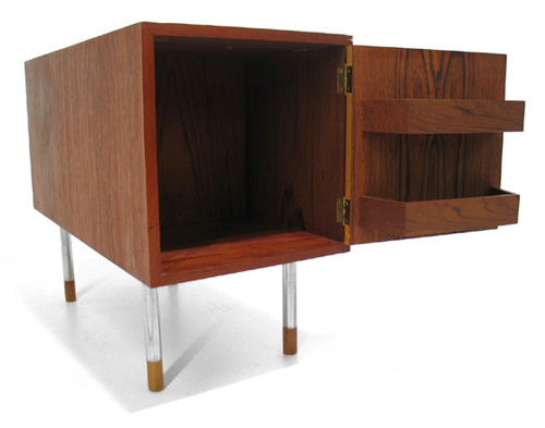 Danish Modern Teak Bar Table Drawers Sideboard Credenza