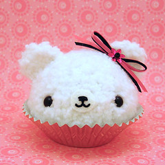 Amigurumi Vanilla Cupcake Bear with flower and ribbon