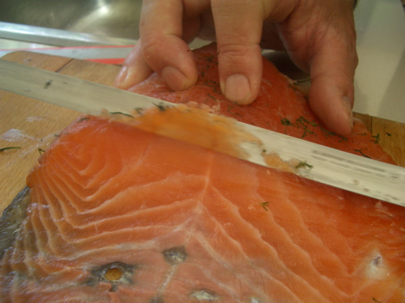 Slicing the gravlax