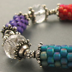 prayer wheel bracelet in teal, lilacblue and fuchsia (yellowplumbeads) Tags: silver beads handmade jewelry bracelet bead handcrafted sterling etsy beaded artisan yellowplum beadwork firepolish seedbeads handmadejewelry beadweaving czechglass beadedjewelry artisanjewelry firepolished handcraftedjewelry yellowplumbeads etsymaine