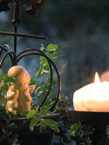 candle and greens