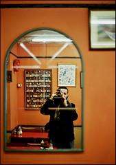 orange. (matteoprez) Tags: auto street morning portrait film college breakfast analog self 50mm restaurant cafe fuji camden f14 royal olympus iso 100 asa matteo ritratto zuiko om1 reala 114 analogico prezioso matteoprezioso mirrorsspecchi
