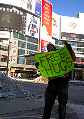 She Was Totally Undercutting My Nickle-A-Kiss Booth (Jonny Canuck) Tags: toronto love hugs eatoncentre dundassquare freehugs