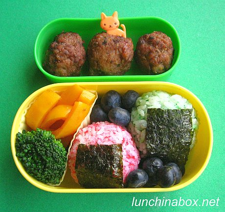 Colorful rice ball bento lunch for preschooler