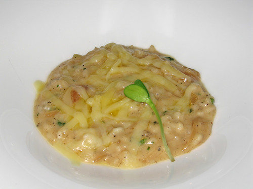 "Chef Bob's Tasting Menu, Course 3: ""French Onion"" Risotto with Sweet Spring Onions and Gruyere de Comte"