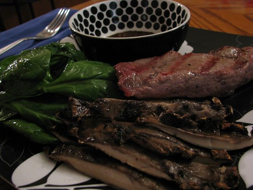 Grilled Steak, Grilled Portabello Mushroom, Steak sauce and Spinach salad