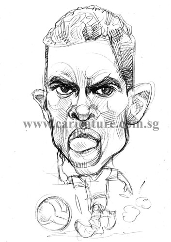 Caricature of Nani pencil sketch watermark