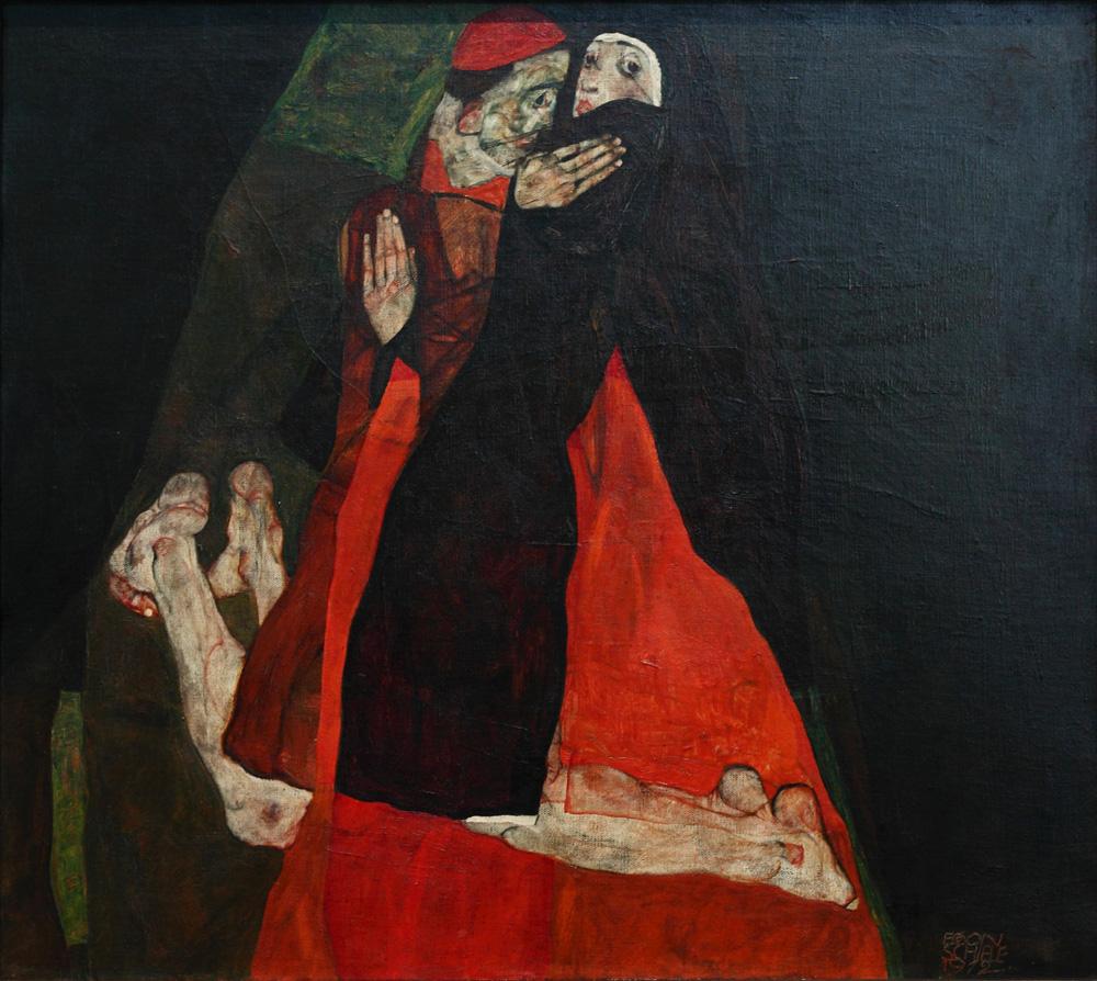 Egon Schiele, Kardinal und Nonne (Liebkosung) [Cardinal and Nun (Tenderness)], 1912