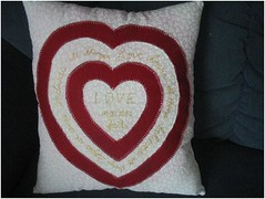 Mother's Day 1 Corinthians 13 Pillow (The Practical Perfeccionista) Tags: red white yellow hearts embroidery pillow applique 1corinthians13