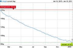Gewichtsabnahmekurve. Fast 80 Kilo in einem Jahr kontinuierliche Abnahme