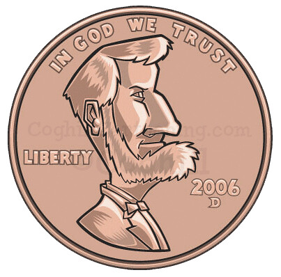 Vector cartoon art of a United States Lincoln penny (one cent).