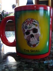 Loteria Mug~Calvera, Muerte (Texas to Mexico) Tags: red coffee skull java colorful texas mexican loteria mug calvera loteriaceramicsbycristinasosanoriega