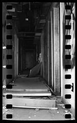 gauntlet (whickus) Tags: abandoned mamiya tlr film 35mm blackwhite doors darkness hallway tagged forgotten 400 epson edu ultra sprocketholes c330 arista v700 classicblackwhite whickus