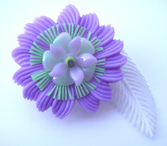 Purple, Green and White Vintage Flowers Brooch