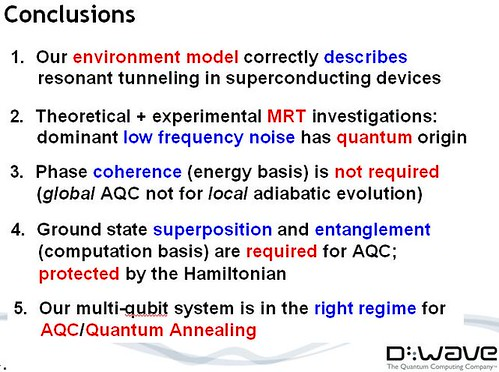 the experimental results are indicating that Dwave is looking at quantum results